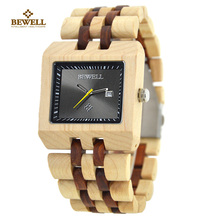 BEWELL Watch Wood Top Luxury Men Watches Rectangle Business Male Quartz Watch Vogue Men's Wrist Watch Relogio Masculino 017A