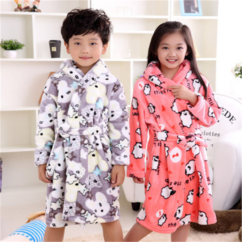 2017 New Winter Kids Bath Robe Flannel Baby Girls Bathrobe Kids Clothes Boys childrens Bathrobe Girls Robes