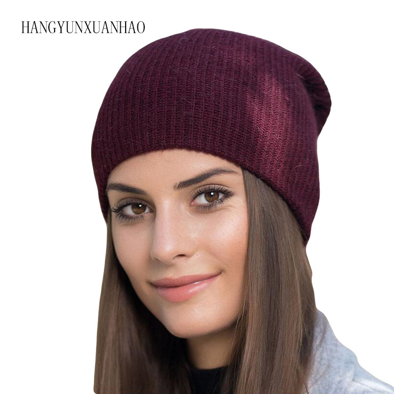 HANGYUNXUANHAO High Quality Winter Hats For Women Cashmere Beanies Ladise Knitted Rabbit Hair Skullies Cap Angora Pompom Gorros