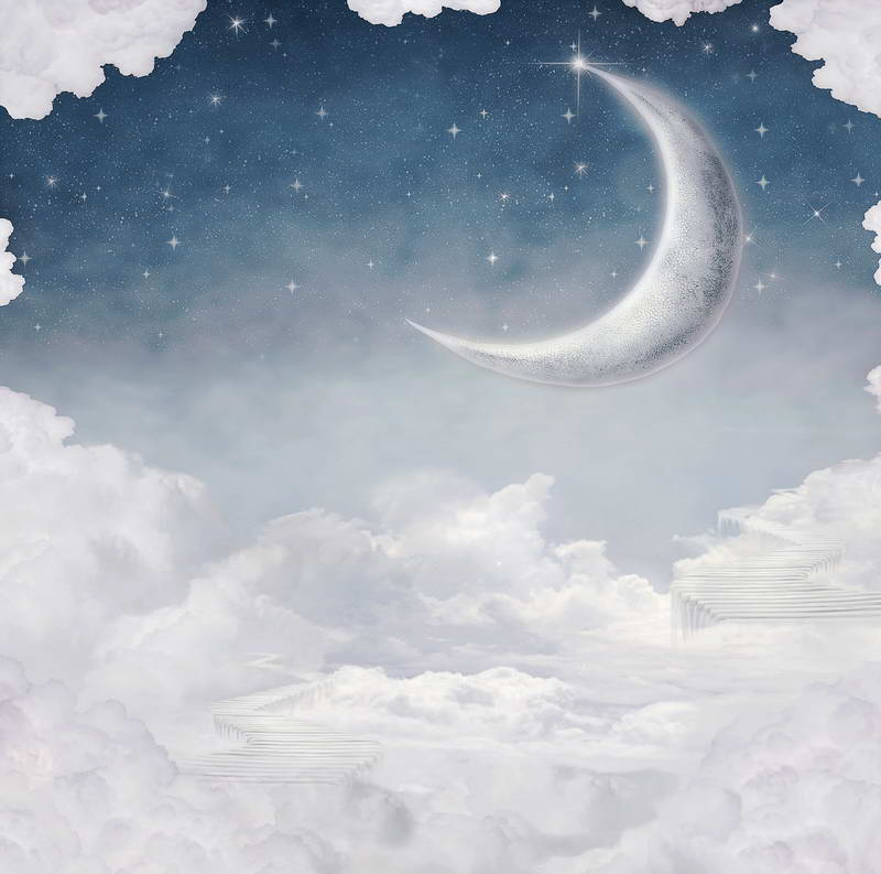 Studio Lighting Newborn Photography: Professional White Background Light Blue Sky With Moon