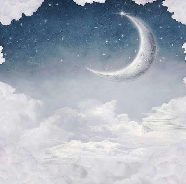 Professionale Sfondo Bianco Azzurro Cielo Con La Luna Neonato