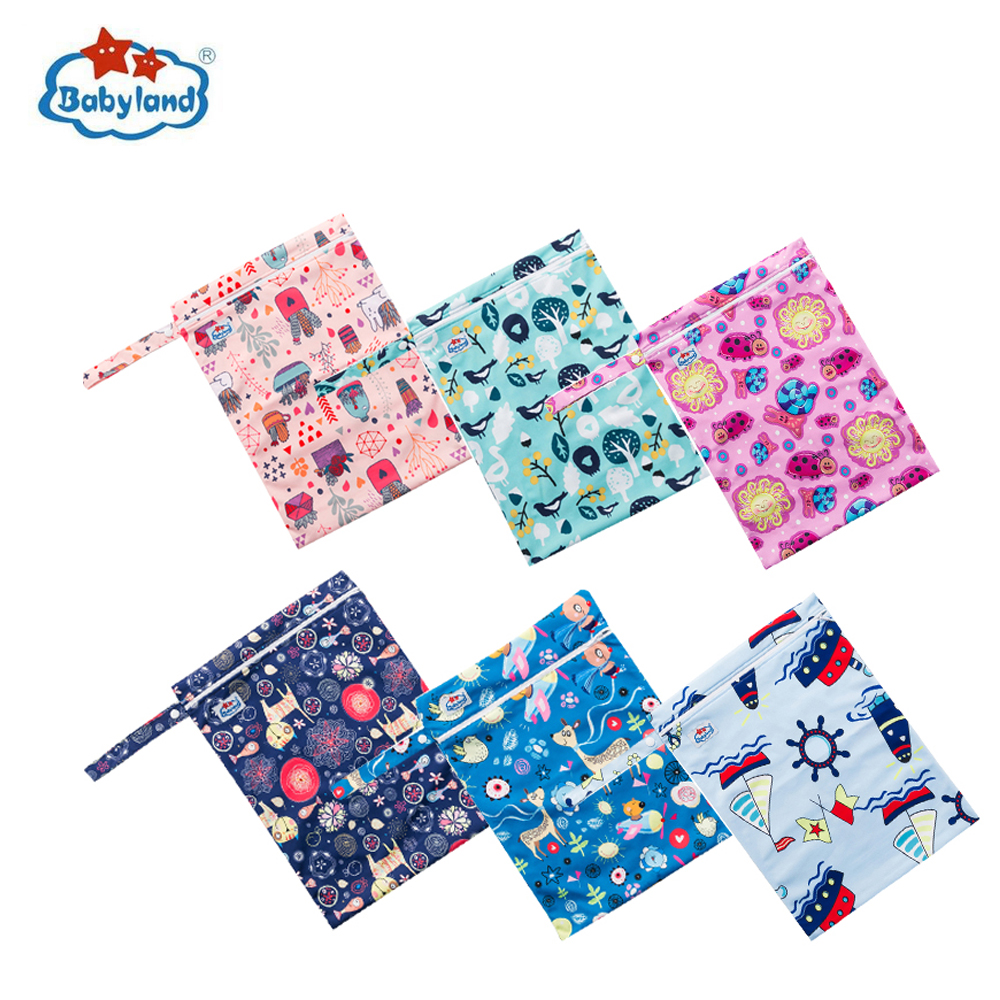 (50pcs )Manufacturer's Price Babyland Zipper Wetbags Waterproof Multi Function Bags Newest Designs Diaper Bags Easy Travel Bags-in Diaper Bags from Mother & Kids    1