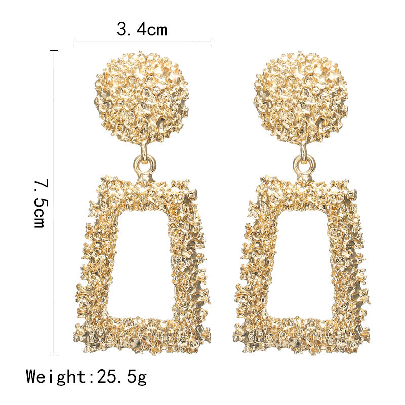 New style metal exaggerated geometric shape big earring drop personality fold concave and convex Gold silver Earring in Drop Earrings from Jewelry Accessories