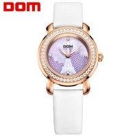 DOM роскошные женские часы модный бренд водостойкие кожаные кварцевые наручные часы сапфир хрустальные женские часы Горячие G 613GL 7M