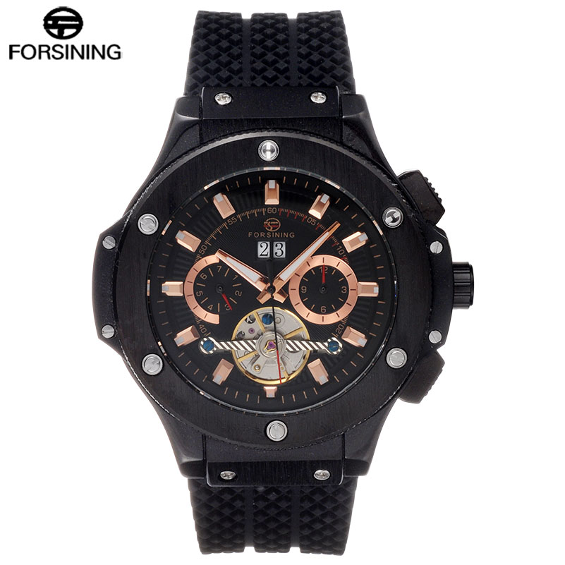 FORSINING Brand Mens Luxury Mechanilcal Watch Men Classic Black Tourbillon Automatic Watches Rubber Band Auto-Calendar Clock forsining tourbillon designer month day date display men watch luxury brand automatic men big face watches gold watch men clock