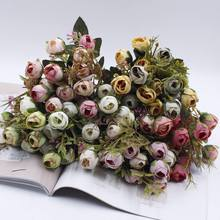 15 heads 1 pack artificial flowers silk rose petals wedding anniversary party decoration buds colorful DIY decorative po