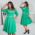 Модные элегантные женщины платья большие размеры Новый 2017 плюс размер женская одежда L-6xl dress casual о-образным Вырезом-line тонкий женский dress