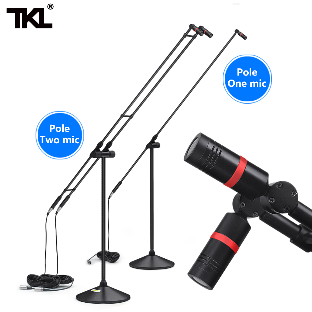 TKL 606 Top-Performance Double Chorus Condenser Microphone Super-Cardioid Mic With Stands Box For Stage Meeting