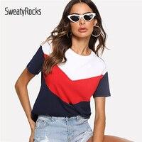SweatyRocks кроить и шить Ти многоцветный короткий рукав круглый воротник лоскутный Повседневное Топы Для женщин летние Athleisure футболка с цветны...