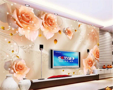 beibehang Customize any size Advanced Wall paper Atmosphere Dream Starlight Rose TV Background papel de parede 3d wallpaper