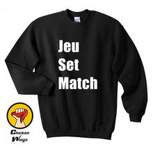 Jeu set match heather Quote Light heather grey Fun sentence Top Crewneck Sweatshirt Unisex More Colors
