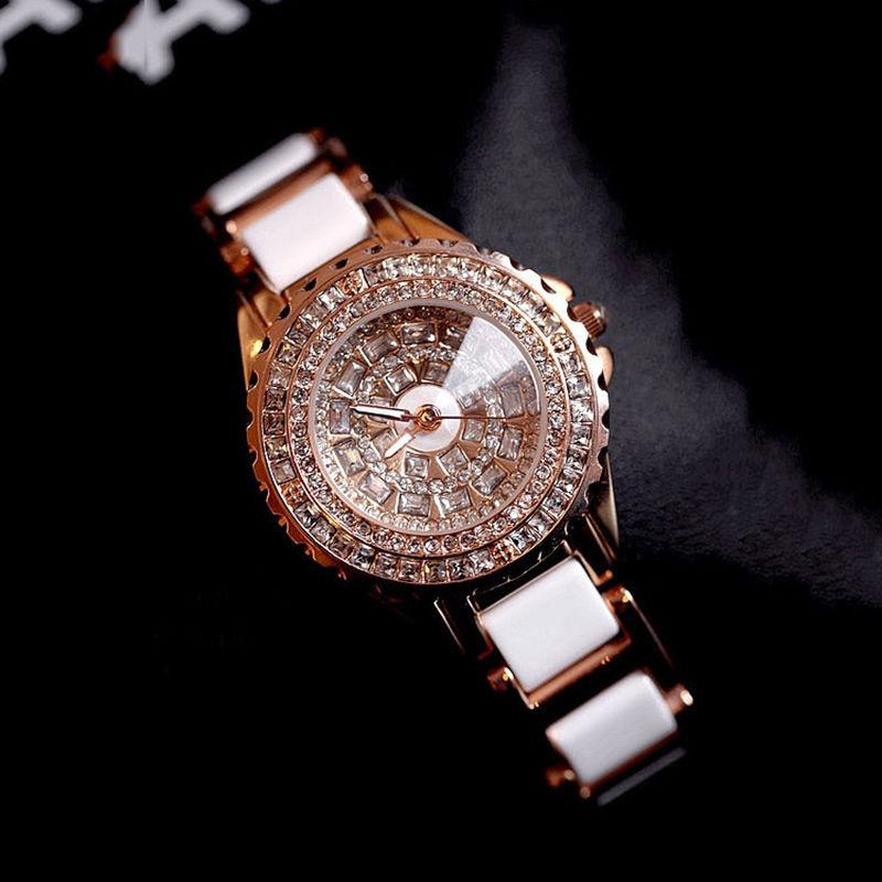 2017 Nya Kvinnor Fashion Watch Lyx Rose Gold Crystal Diamond Keramiska Rem Dress Kvinnor Rhinestone Watch