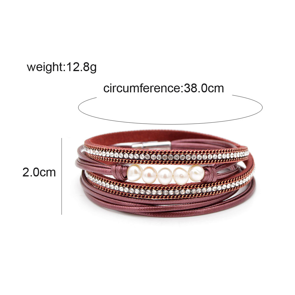 CINDY XIANG 4 Colors Choose Freshwater Pearl Leather Bracelets For Women Fashion Long Twisted Summer Bangles Cuff Bracelet Gift in Bangles from Jewelry Accessories