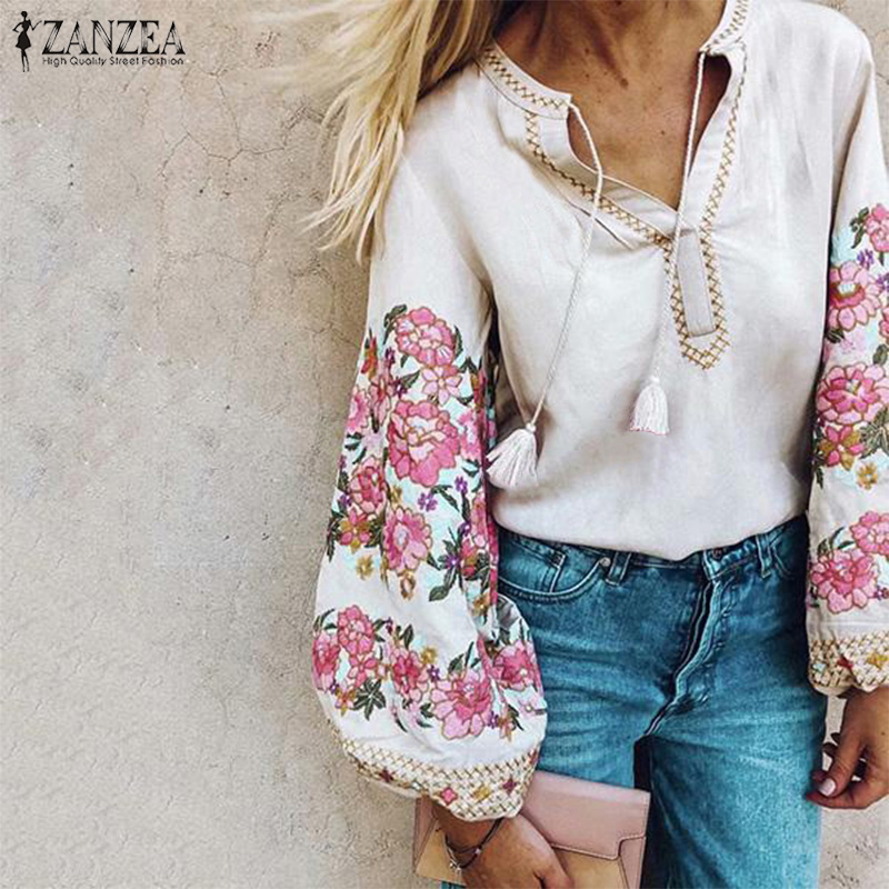 ZANZEA Fashion Women Floral Printed Lantern Sleeve Blouse Autumn Casual Vintage V Neck Party Shirt Femininas Blusas Chemise Tops