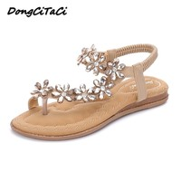 DongCiTaCi Summer Women Flat Gladiator Sandals Shoes Woman Bohemia Flip Flop Crystal Flower 2018 Casual Beach