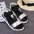 Mulheres Sandálias Plataforma 2017 Gladiador Verão de Cabeça de Peixe Cores Misturadas Muffin Sapato Zapatos Mujer Sandalias Mujer Plataforma Alta