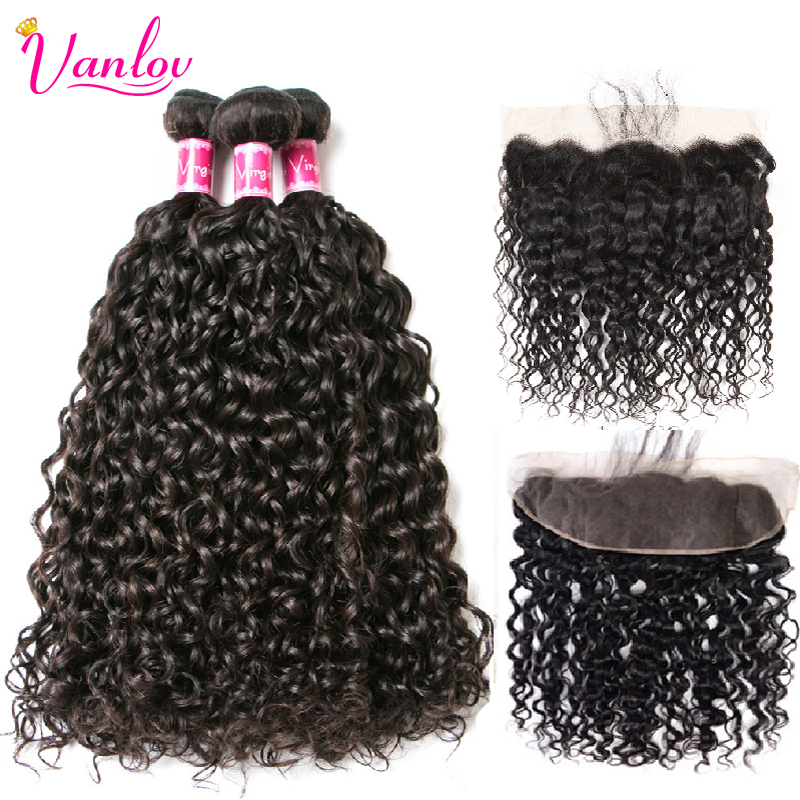 Vanlov Human Hair Bundles With Frontal Brazilian Water Wave With Closure Frontal With Bundles 1B 1 Vanlov Human Hair Bundles With Frontal Brazilian Water Wave With Closure Frontal With Bundles #1B #1 #613 More Expensive Remy