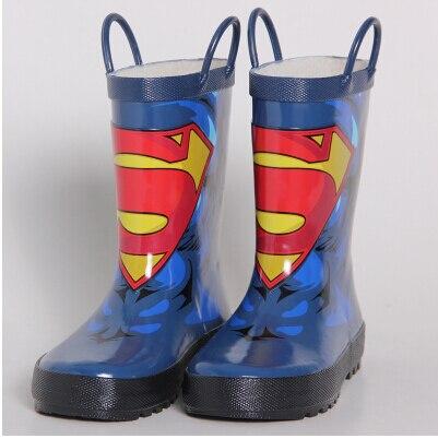 Бесплатная доставка детская обувь Дождь Сапоги Супермен Сапоги Мальчик обувь бархат Детская Резиновая обувь сапоги Детские boots13