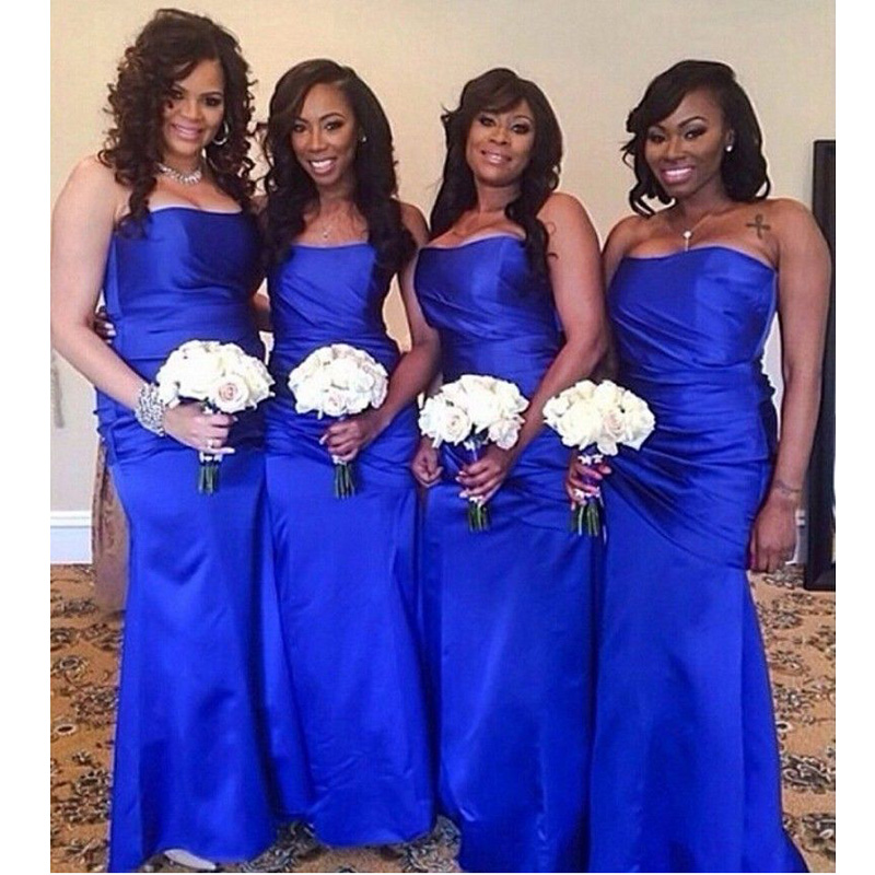 Royal Blue Long   Bridesmaid     Dress   Sexy Strapless Mermaid Satin Floor Length Wedding Guest   Dress   Black Girls 2018 Prom Party Gowns