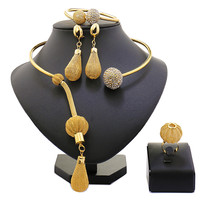 2017 New Fashion African Beads Jewelry Set Exquisite Carved Dubai Gold Plated Jewelry Set Nigerian Wedding