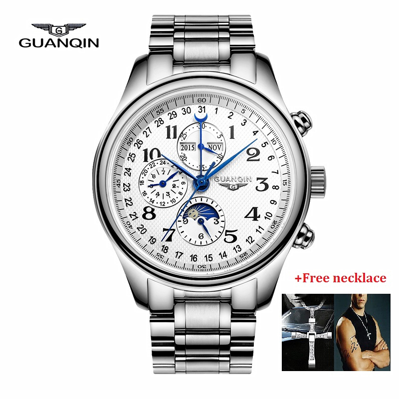 원래 guanqin 기계식 시계 남자 자동 자체 바람 시계 방수 군사 망 손목 시계 relogio masculino 2019-에서기계식 시계부터 시계 의  그룹 1