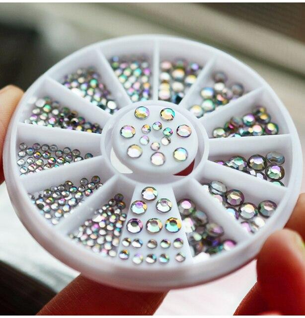 2017 Nova Venda quente Holográfica da roda 2-5mm tamanhos mistos 3D Colorido Opal AB Strass Unhas para unhas acessórios, MLP2