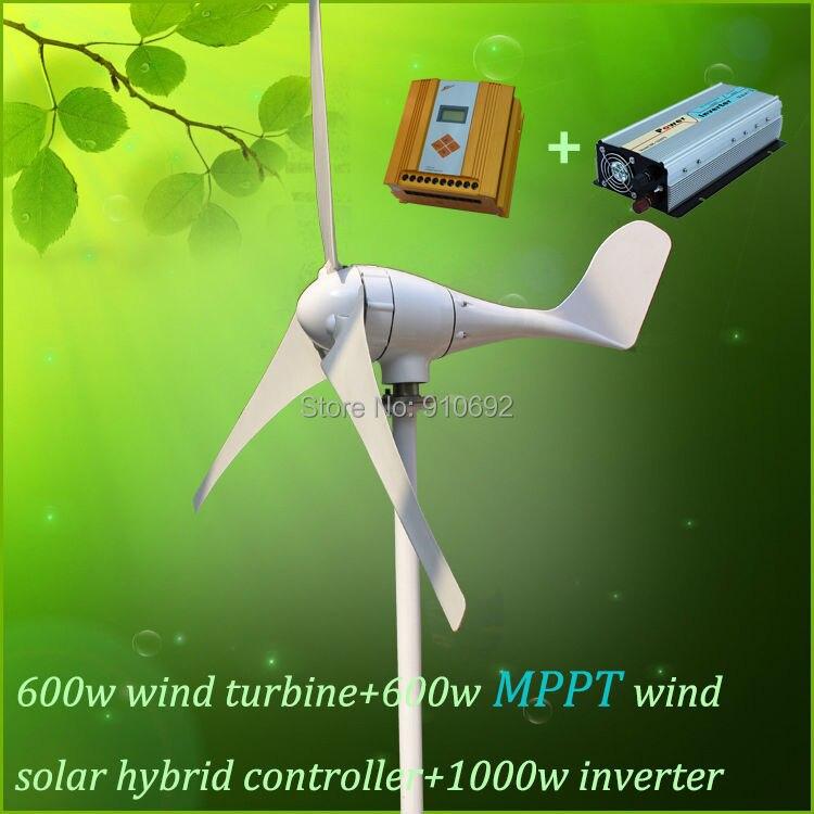 700w 12v/24v/48V wind turbine generator with MPPT controller and pure sine wave inverter