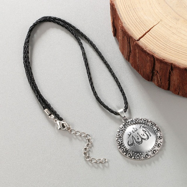 e984c4da6626 Chandler On Sale Vintage Silver Allah Muslim Necklace With Rope Chain  Sweater Religious Round Pendant Islamic Callars Wholesale