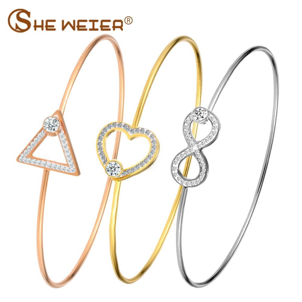 SHE WEIER Fashion Stainless Steel Bracelets & Bangles For Women Cuff Bangle Bracelet Infinity Clover Round Geometry Heart Star
