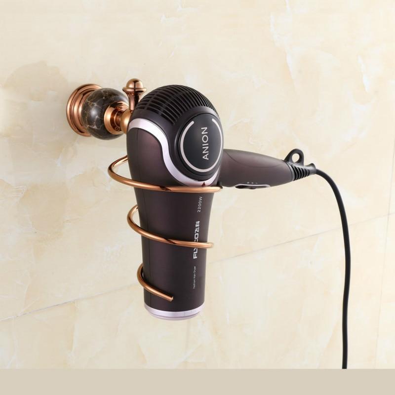 Rose gold  Crystal Bathroom Wall Shelf Wall-mounted Hair Dryer Rack Storage Hairdryer Support Holder Spiral Stand Holder 760016