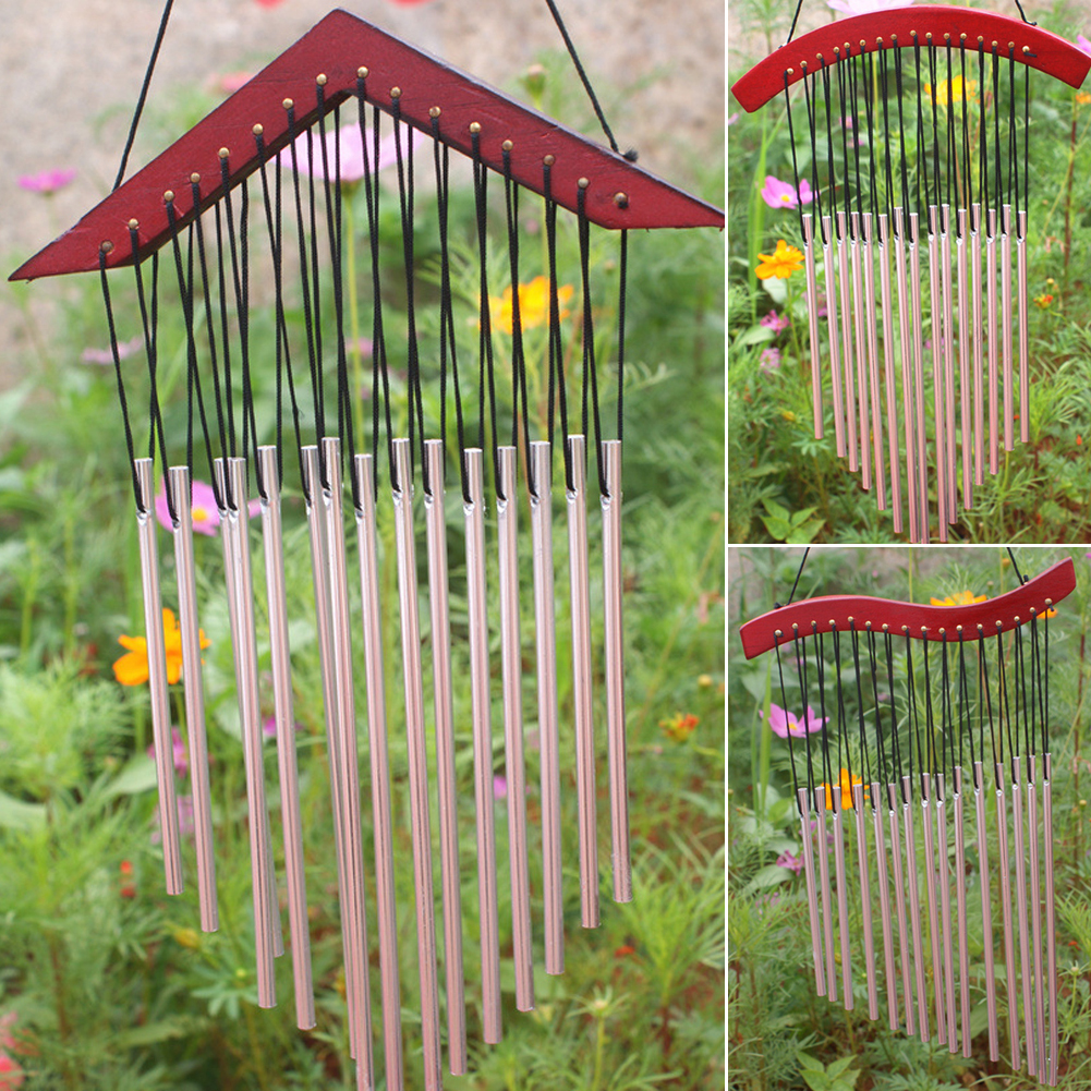 Outdoor hanging ornaments - Metal Crafts 15 Tubes Windchime Yard Garden Outdoor Living Room Decoration Wind Chimes Hanging Mascot Gifts
