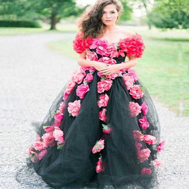 vestidos de novia 2017 New Arrival scoop cap Sleeves red Flowers ...