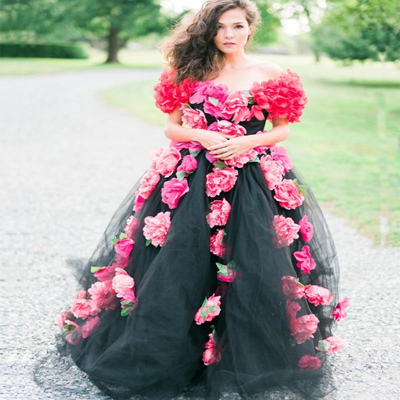 Vestidos De Novia 2017 New Arrival Scoop Cap Sleeves Red Flowers Black Wedding Tulle Bridal