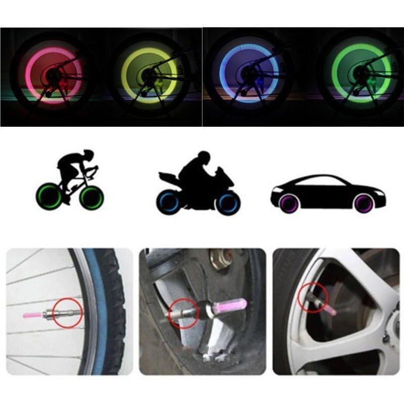 Universal 4 Pcs Blue LED Autos Wheel Tyre Tire Air Valve Stem Cap LED Light Lamp