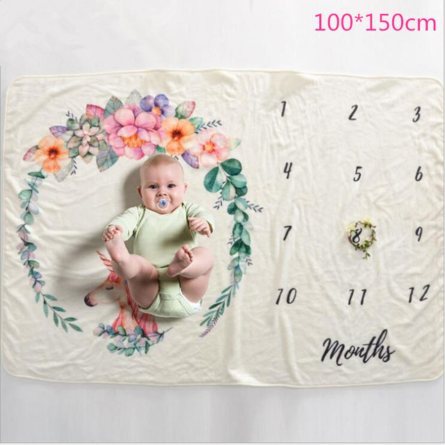 Milestone Blanket Newborn Photography Wrap Baby Monthly Blanket