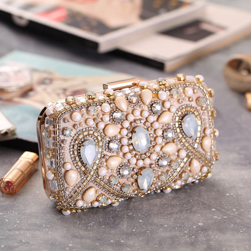 Handmade Elegant Women Party Evening Clutch Pearl Beading Crystal Flower Handbag Solid Metal Frame Flap Fit Dress Black Apricot half placket pearl beading tie cuff dress