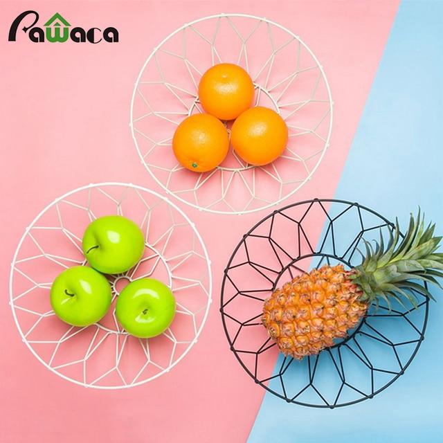 European Metal Fruit Storage Basket Bowl Iron Wire Stand Snacks Candy Desktop Holder
