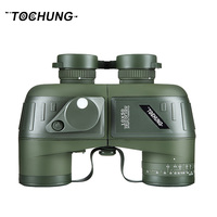 TOCHUNG 10x50 Waterproof Navy Telescope Fogproof HD Binoculars With Rangefinder Compass Reticle Illuminant Night Vision Hunting