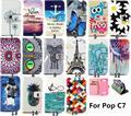 Бесплатная Доставка 16 Рисунком PU Кожаный Бумажник Flip Case для Alcatel One Touch Pop C7 7041D 7040A Кремния Случаи Телефона Крышка Сумки