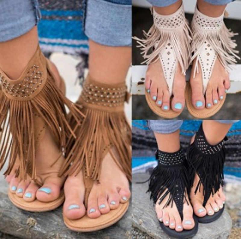 89c133f5be7 ... Women Sandals Fashion Tassel Summer Shoes Women 2019 New Flat Sandals  Female Flip Flops Plus Size ...
