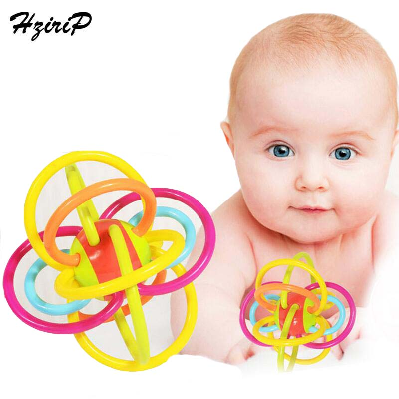 HziriP Newborn Rattles Educational Toys Silicone Fun Cute Grasping Mobiles Baby Toy Hand Bell Baby Teether Toy Free Shipping