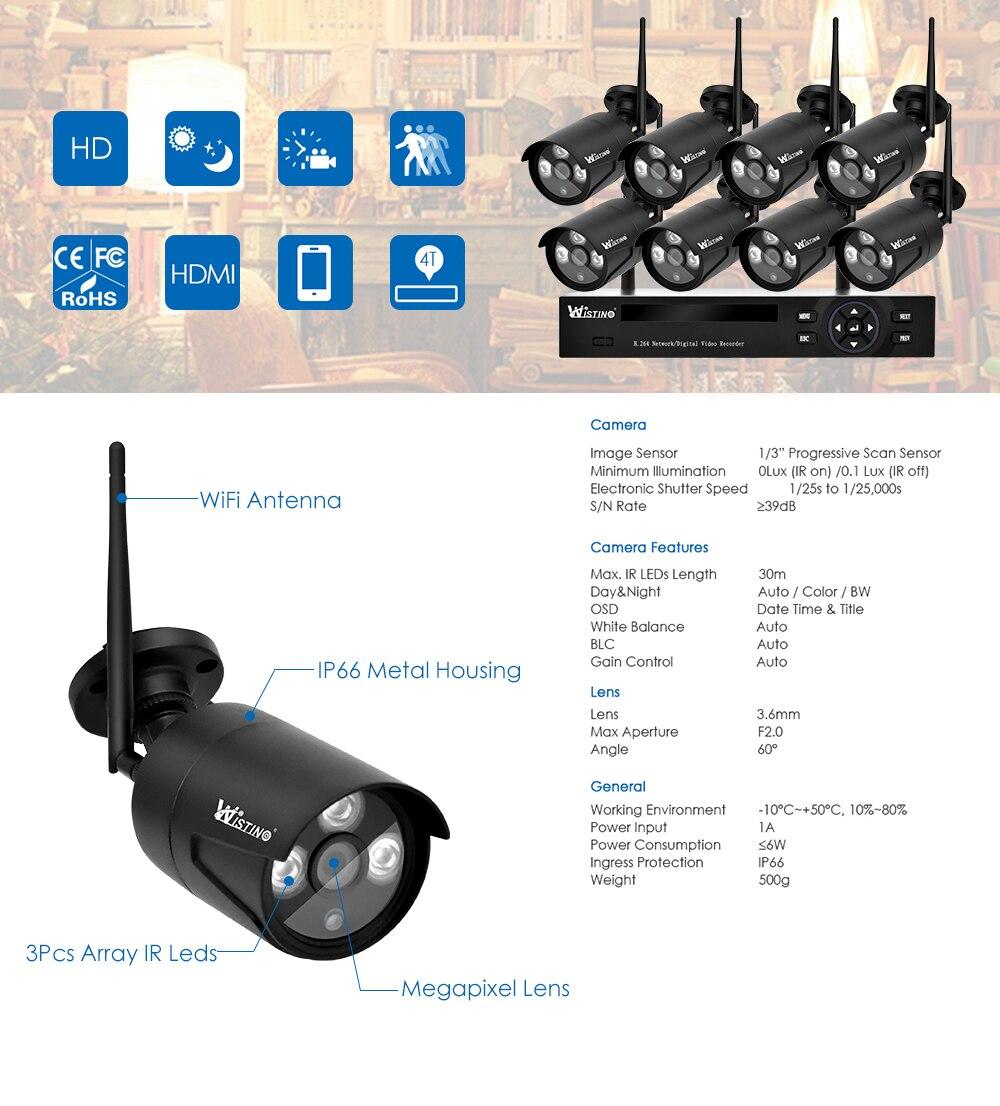 Wistino 4CH Wireless IP Camera NVR Kits 720P CCTV Security System Wifi Cameras XMEye Outdoor Waterproof Surveillance Kit Night Vision (12)