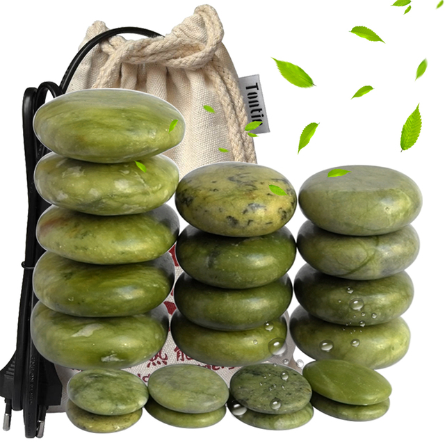 Green Jade Body Massage Hot Stone set SPA Canvas heater Bag Relieve Pain Spa Relax Body Heating
