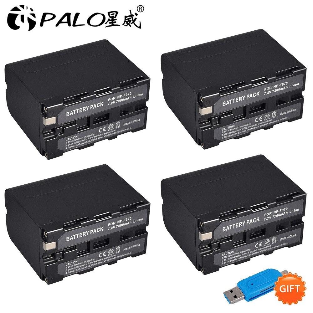 4 pièces 7200 mAh NP-F960 NP-F970 NP F960 NP F970 Caméscope batterie Pour Sony NP-F550 NP-F770 NP-F750 NP F770 NPF960 NPF970 En Gros
