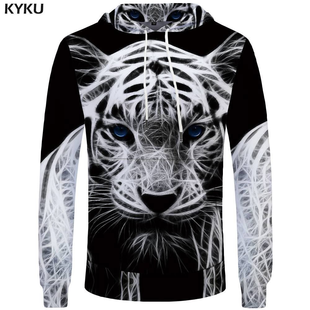 KYKU Tiger Hoodies Men Animal Sweatshirt Black And White Mens Clothing Sweatshirts Pocket Big Size Hoddie Cool New Print Man