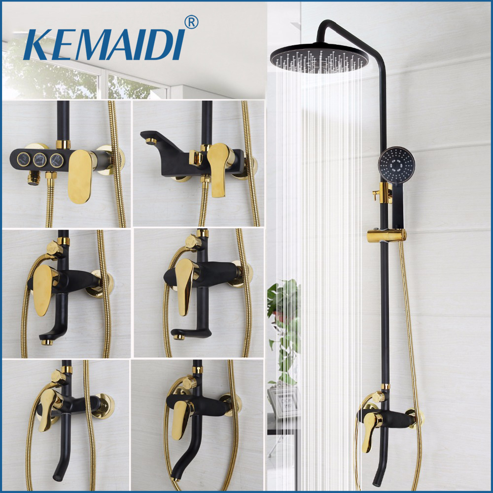 KEMAIDI Good Quality Bathroom Black Shower Set With Handheld Shower Wall Mounted Rainfall Shower Mixer Tap Faucet Mixer Valve yuneec q500 typhoon quadcopter handheld cgo steadygrip gimbal black