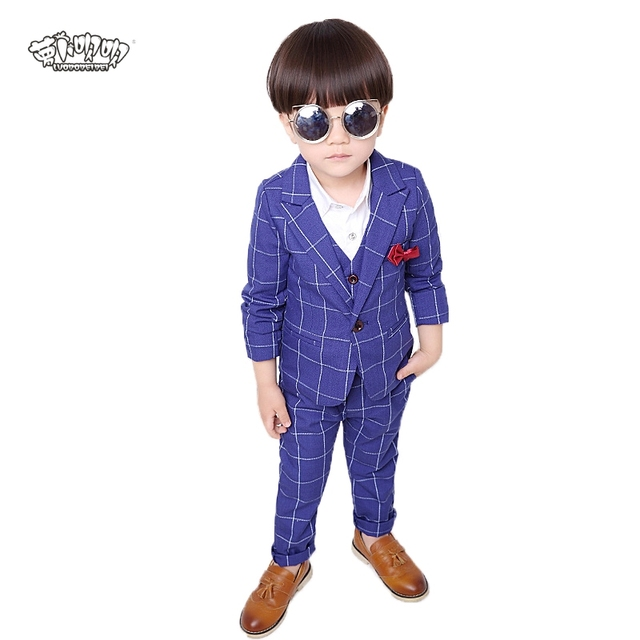 aa372716cc8 Flower Boys Brand Formal Suits for Weddings Boys Plaid Blazer Vest Pants  3pcs Tuxedo Kids Performance Party Clothing Sets N50