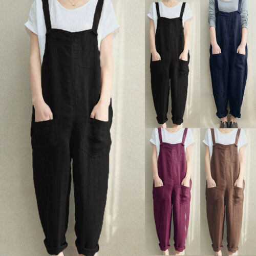 Womens Sleeveless Dungarees Rompers Jumpsuit Loose Pants Overalls Playsuits