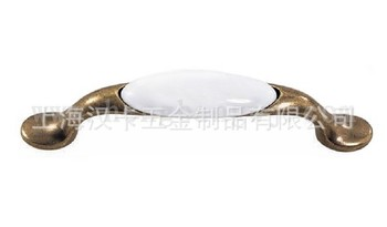 Pure white ceramic handle 96 foot pitch antique bronze zinc alloy pull hand in hand