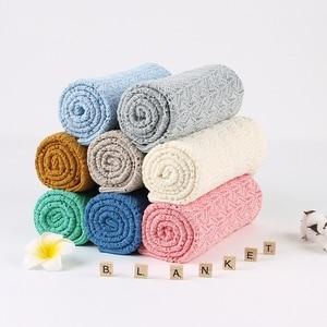 Image 3 - Baby Decke Gestrickt Baumwolle Sommer Sachen Für Neugeborene Wickeln Kinderwagen Decke Kleidung Cobertor Infantil Wrap Monatliche Kinder Quilt